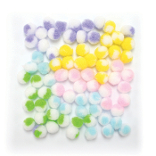 "75 PC 0.75"" 2-TONE POM-POMS - PASTEL ASSORT (24 PACKS) PF-3382"
