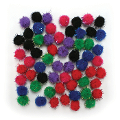 "60 PC 0.75"" TINSEL POM-POMS - BRIGHT ASSORT (24 PACKS) PF-3389"