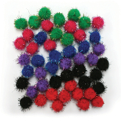 "50 PC 1"" TINSEL POM-POMS - BRIGHT ASSORT (24 PACKS) PF-3385"