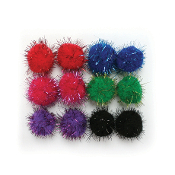 "12 PC 1.5"" TINSEL POM-POMS - BRIGHT ASSORT (24 PACKS) PF-3391"