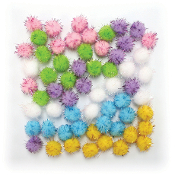 "60 PC 0.75"" TINSEL POM-POMS - PASTEL ASSORT (24 PACKS) PF-3390"