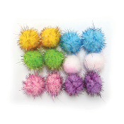 "12 PC 1.5"" TINSEL POM-POMS - PASTEL ASSORT (24 PACKS) PF-3392"