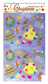 SALE! 30 XMAS TREE EMBOSSED STICKERS (48 PACKS) PF-7420
