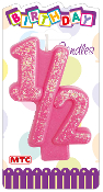 "3"" NUMERAL PINK GLITTERED CANDLE - #1/2 (24 PCS) PF-3094"