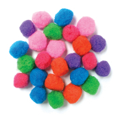 "25 PC 1.5"" POM-POMS - ASSORTED (24 PACKS) PF-3520"