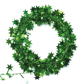 25 FT WIRE STAR GARLAND - GREEN (24 PACKS) PF-3782