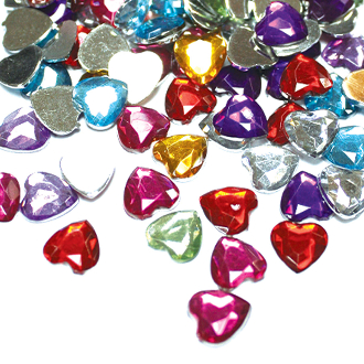 180 PC 10 MM HEART SHAPE RHINESTONES - ASSORT (24 PACKS) PF-3991