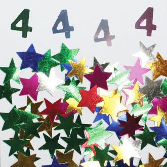 2/3 OZ. CONFETTI - #4 & STARS (24 PACKS) PF-3707