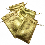 "4 PCS 3.75""W X 6""H METALLIC POUCH - GOLD (24 PACKS) PF-4030"