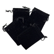 "4 PCS 2.75""W X 3.5""H VELVET POUCH - BLACK (24 PACKS) PF-4032"
