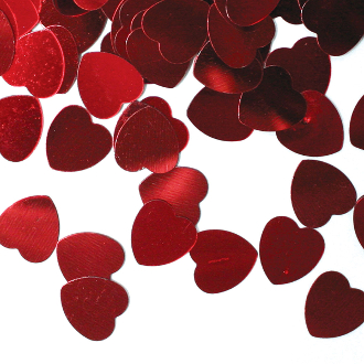 1 OZ. CONFETTI - MED RED HEARTS (24 PACKS) PF-3700