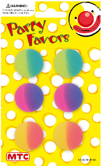 "6 PCS 1"" TWO TONE HI-BOUNCING BALLS (24 PCS) PF-1196"