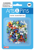 100 PC PUSH PINS - ASSORTED (24 PACKS) PF-3953