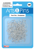 100 PC PUSH PINS - TRANSPARENT (24 PACKS) PF-3954