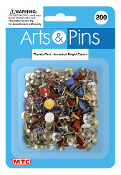 200 PC THUMB PINS - ASSORTED (24 PACKS) PF-3956