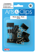 12 PC 2.5 CM BINDER CLIPS - BLACK (24 PACKS) PF-4020