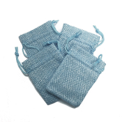 "4 PCS 2.75"" X 3.5"" BURLAP BAGS - LIGHT BLUE (24 PACKS) PF-4301"