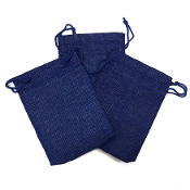 "3 PCS 4 ""X 5.5"" BURLAP BAGS - BLUE (24 PACKS) PF-4304"