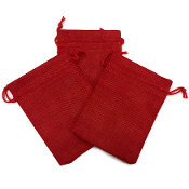 "3 PCS 4 ""X 5.5"" BURLAP BAGS - RED (24 PACKS) PF-4303"