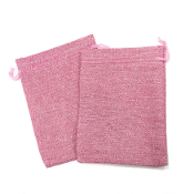 "2 PCS 5.5"" X 8"" BURLAP BAGS - PINK (24 PACKS) PF-4312"