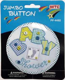 "4"" JUMBO BUTTON - BABY SHOWER BLUE (24 PCS) PF-4492"