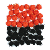 "50 PC 1"" TINSEL POM-POMS - ORANGE/BLACK(24 PACKS) PF-4328"