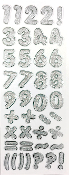 "1.25"" GLITTER NUMBER STICKERS-SILVER (24 PACKS) PF-4433"