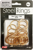 20 PC 2.5CM STEEL RINGS - GOLD (24 PACKS) PF-4505