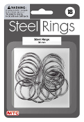 18 PC 3 CM STEEL RINGS - SILVER (24 PACKS) PF-4190