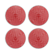 "4 PCS 4.5"" PLASTIC ROUND CANVAS - RED (24 PACKS) PF-4522"