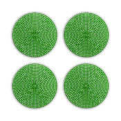 "4 PCS 4.5"" PLASTIC ROUND CANVAS - GREEN (24 PACKS) PF-4523"