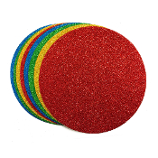 8 PC 14 CM EVA ROUND GLITTER FOAM -ASSORTED (24 PACKS) PF-4593