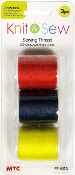 3 PC 150 YD SEWING THREAD-BRIGHT ASSORT (24 PACKS) PF-4653