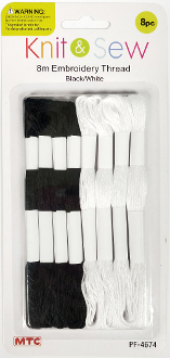 8 PCS 8M EMBROIDERY THREAD-BLACK & WHITE (24 PACKS) PF-4674
