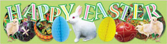 SALE! PAPER TISSUE BANNER-HAPPY EASTER (48 PCS) PF-7652