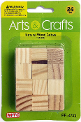 24 PC 1.5 CM WOOD CUBES - NATURAL (24 PACKS) PF-4723