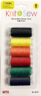 6 PCS 182M SEWING THREAD-SOLID COLORS (24 PACKS) PF-4742