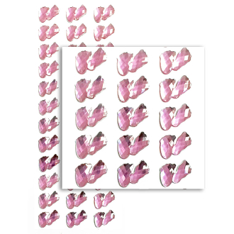 36 PC BABY FEET RHINESTONE STICKERS-PINK (24 PACKS) PF-4791