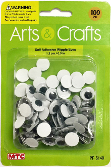 100PC 1.2CM SELF ADHESIVE WIGGLE EYES (24 PACKS) PF-5140