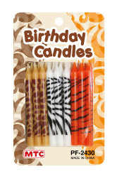 18 PCS ANIMAL PRINT CANDLES (24 PCS) PF-2430